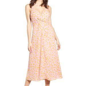 Leith Front Knot Pink Printed Midi Dress (Medium)